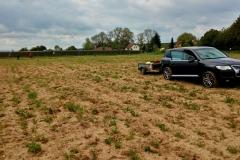 Plantáž na produkci biomasy vedle solární elektrárny