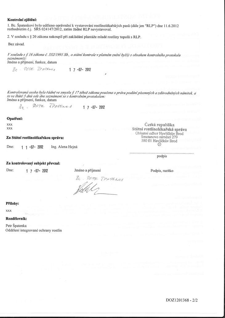 Protokoly o rostlinolékařské kontrole sadby z obou našich matečnic z července 2012 2/2