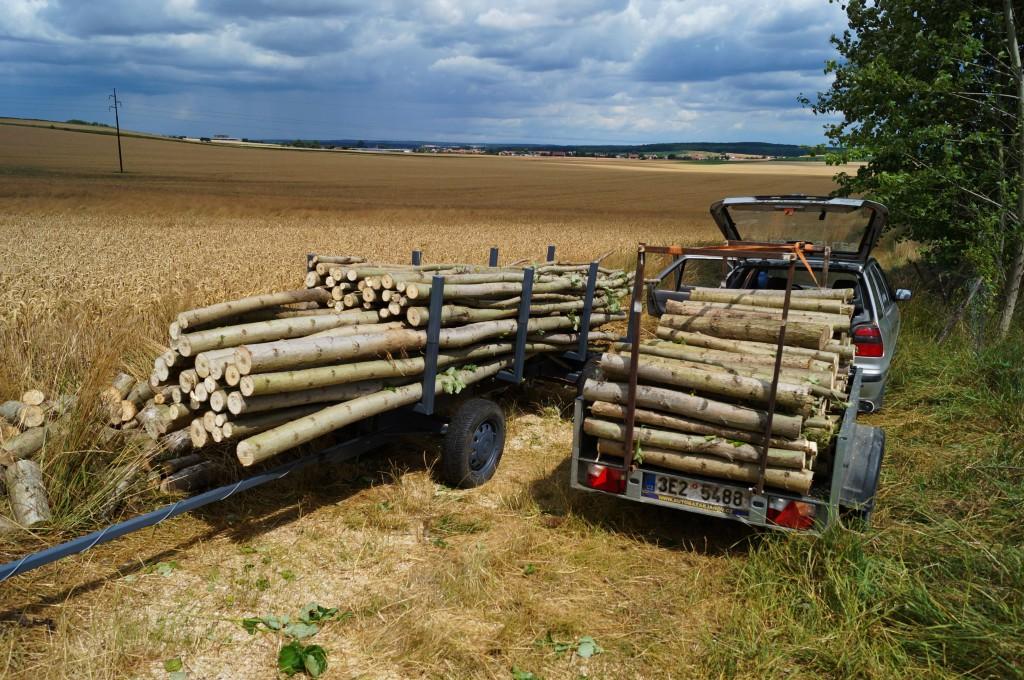 Ze svážeče dřeva můžeme krátit celé stromy na délky polen dle požadavku zákazníka a to mnohem rychleji, než na klasické koze